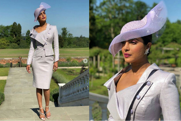 Priyanka Chopra Wears a Light Neutral Dress and Matching Hat at the Royal Wedding